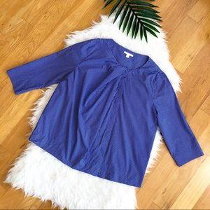 COS Blue Geometric 3/4 Sleeve Blouse